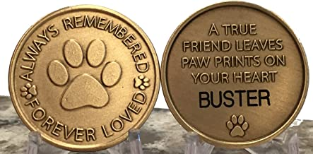 RecoveryChip Personalized Pet Name Memorial Medallion Engraved Always Remembered Forever Loved Token