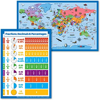 + Fractions 2 Pack Laminated, 18 x 29 Decimals /& Percentages Math Chart Illustrated World Map Poster for Kids