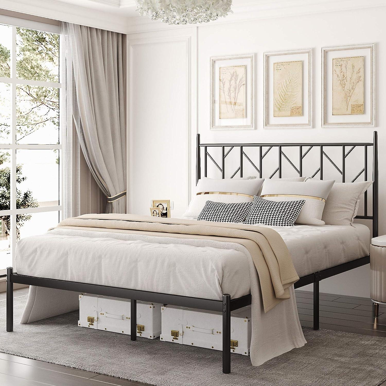 Allewie Full Size Modern Platform Frame 供え 新作通販 Vintage with Headboa Bed