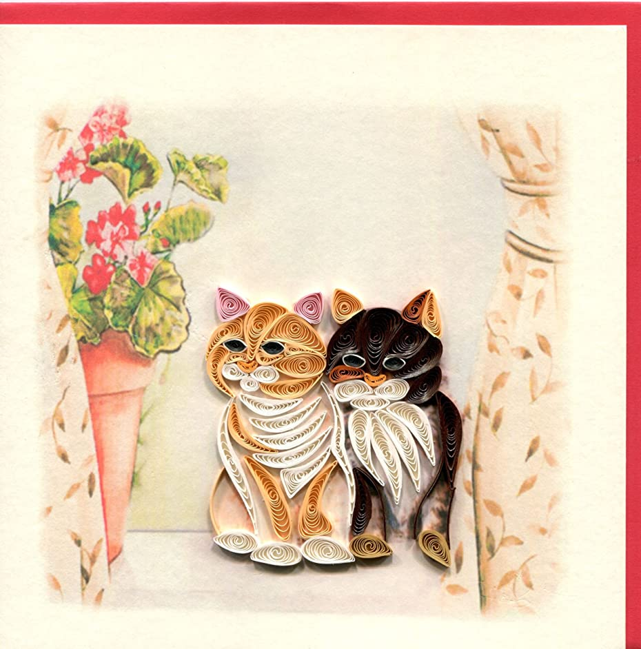 Origamo QU048?–?Greeting Card, Pair of Cats, Filigree of Paper, Origami