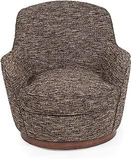Sunset Trading Heathered Tweed Swivel Chair, Black/Brown/Tan/Mustard