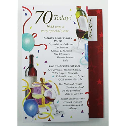 70 Today 1948 Special Year Born Happy Birthday Card Facts Quality Him Verse Male