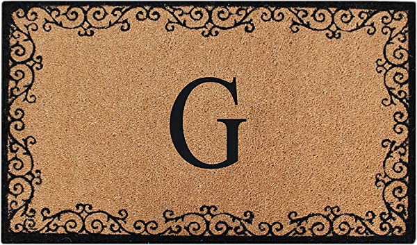 A1 Home Collections PT3007 GA1HC First Impression Lori Floral Non Skid Monogrammed Doormat 24 X 39 Beige Black