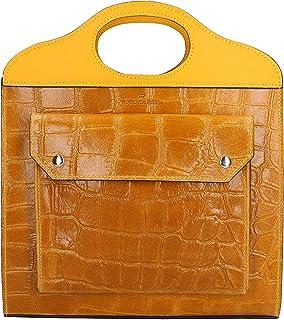 Roberta Rossi Outlet borsa a mano da donna in vera pelle Stampa cocco + Ruga fatta a mano in Italia, 26x30x10 cm. Made in ...