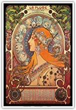 Pacifica Island Art - Calendar La Plume (Feather) - Vintage Advertising Poster by Alphonse Mucha ca.1897 - Master Art Print - 13in x 19in