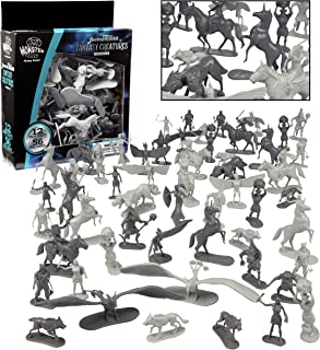 SCS Direct Fantasy Creatures Action Figure Playset - 56pc Monster Toy Collection (Includes Direwolves, Cyclops, Phoenixes,...