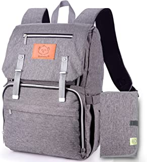 Diaper Bag Backpack, Waterproof Multi Function Baby Travel Bags (Classic Gray)