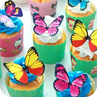 Butterfly cake Toppers 40Pcs Set, GUCUJI Chocolate Mousse Cake Cupcake Toppers Decoration (4 Patterns X 10)