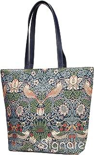 Designer William Morris Shoulder Bag by Signare | Women's Fashion Unusual Beach Evening Handbag | Strawberry Thief (Strawberry Thief Blue)