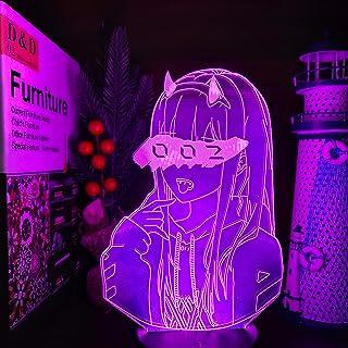 DARLING in the FRANXX Zero Two 002 3D Led ilusión luces nocturnas Anime lámpara iluminación Led para regalo de Navidad