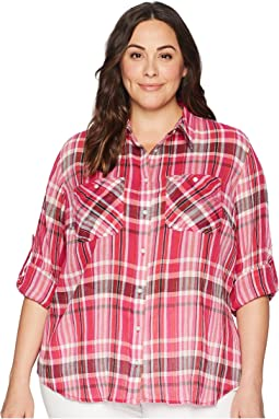 Plus Size Yarn-Dyed Pomegranete Plaid Long Sleeve Shirt