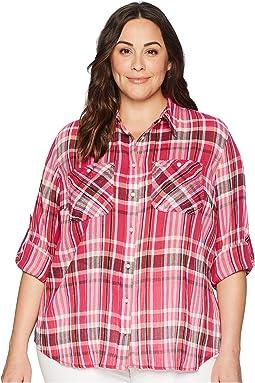 Plus Size Yarn-Dyed Pomegranete Plaid Long Sleeve Shirt