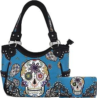 Concealed Carry Day of the Dead Sugar Skull Purse Handbag Messenger Shoulder Bag Wallet Set Turq