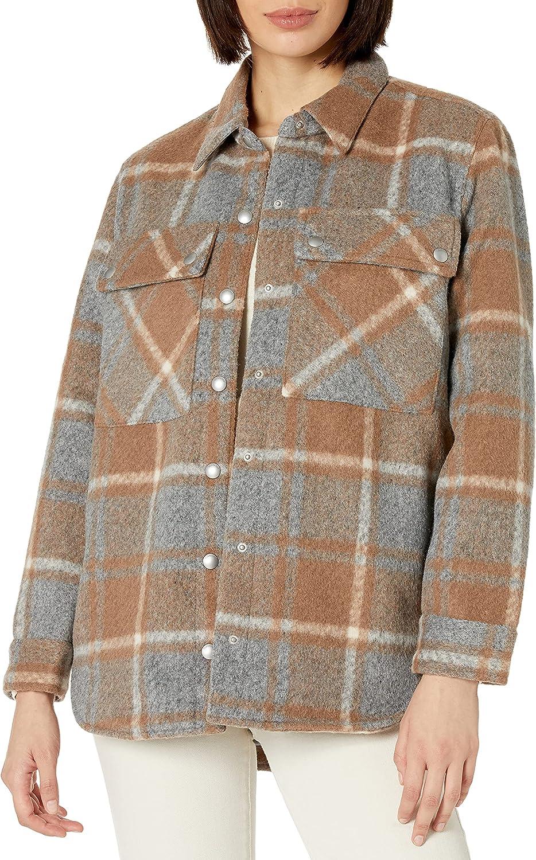 [BLANKNYC] Womens Oversized Flannel Shirt Jacket