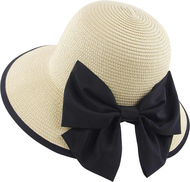Muryobao Women Straw Hats Wide Brim Foldable Packable Roll up Cap Summer UV Protection Beach Sun Hat UPF50+