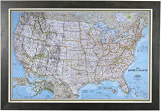 Push Pin Travel Maps Classic US with Rustic Black Frame and Pins - 27.5 inches x 39.5 inches