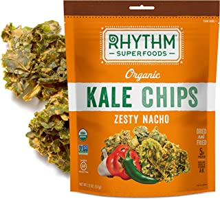 Rhythm Superfoods Kale Chips, Zesty Nacho, Organic and Non-GMO, 2 Oz (Pack of 4), Vegan/Gluten-Free Superfood Snacks, Packaging May Vary