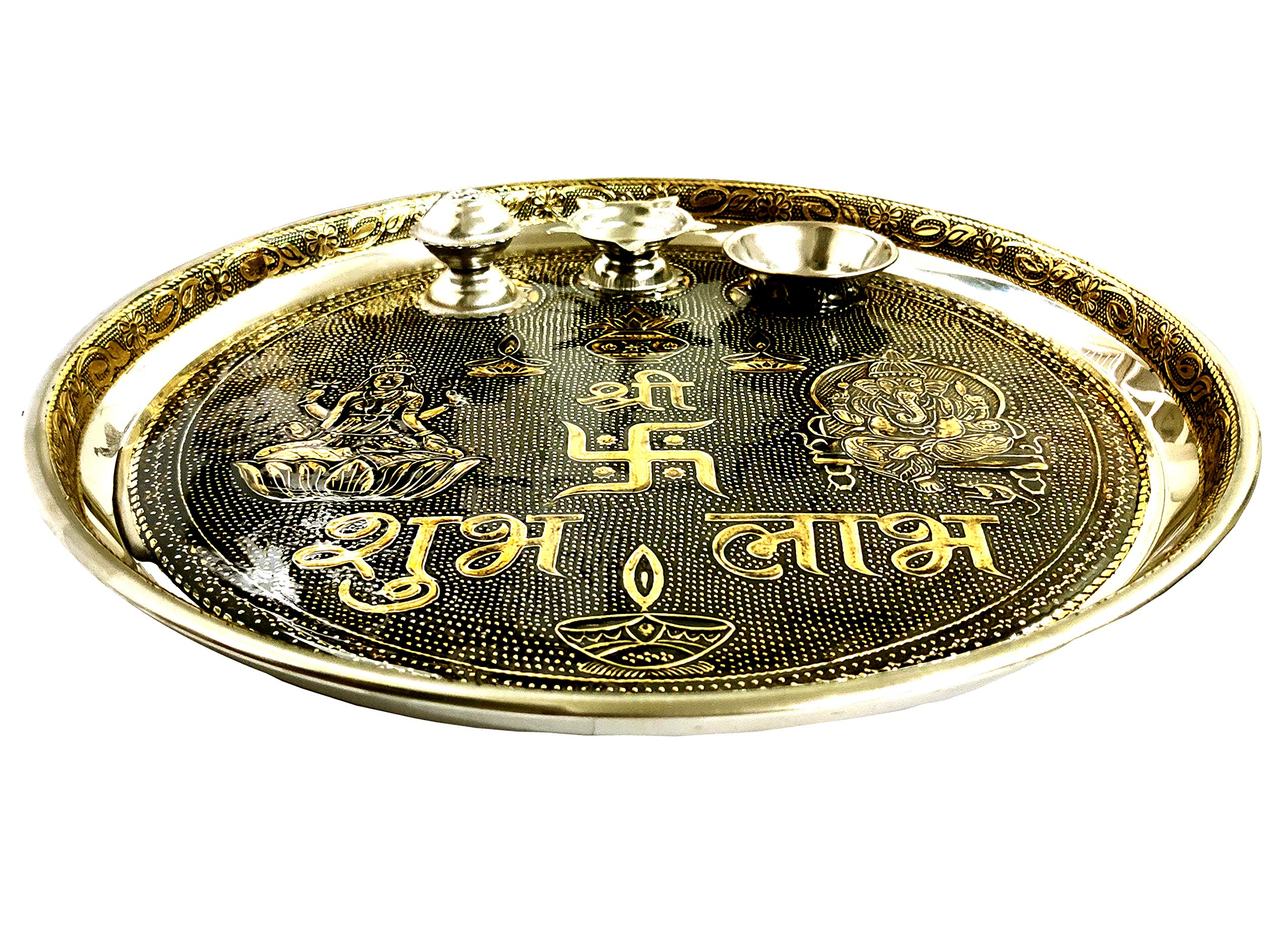 GoldGiftIdeas Silver Plated Flower Shape Sindoor Dabbi with Lid Pack of 5 Return Gifts for Housewarming and Baby Shower Indian Pooja Items for Home Indian KumKum Box for Gift with Potli Bags
