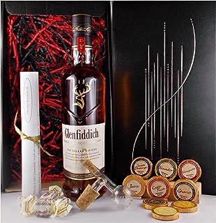 Geschenk Glenfiddich 15 Jahre Single Malt Whisky  Glaskugelportionierer  Edelschokolade  Fudge