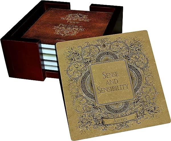 简·奥斯汀书籍杯垫套装砂岩瓷砖软木背 6 件套