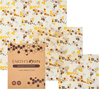Beeswax Wrap Pack – Reusable Food Wraps – Perfect Eco-friendly Alternative for Produce Bags, Plastic Wraps, or Snack Bags – Eco Friendly, Biodegradable, Zero Waste Beeswax Wraps for Food Storage