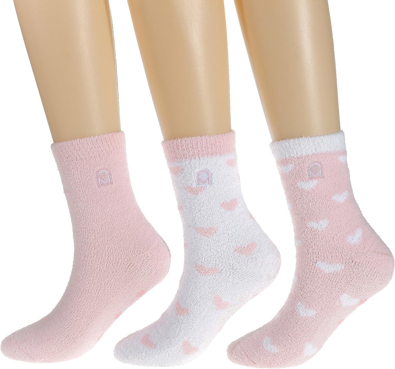 Noble Mount Women's Soft Anti-Skid Micro-Plush Winter Crew Socks