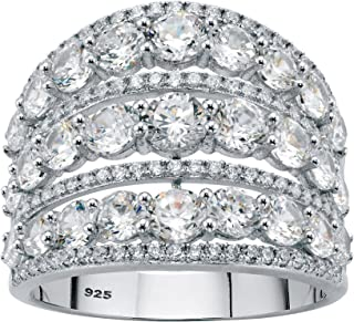 Sterling Silver Round Cubic Zirconia Multi Row Openwork Dome Ring