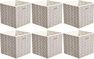 AmazonBasics - Cubos plegables de tela con ojales ovalados, 6 unidades, Chevron gris pardo, Paquete 6