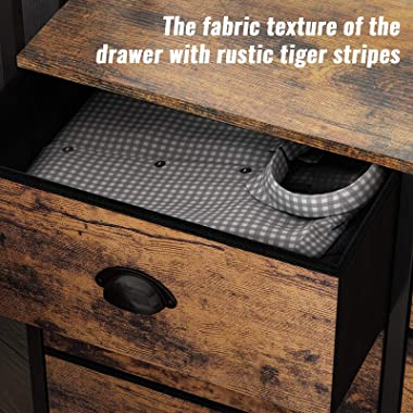 Furologee 6 Drawer Fabric Dresser Bedroom,Double Shelf, Closet Organizer/Storage Tower Unit for Living Room/Entryway,Rustic B