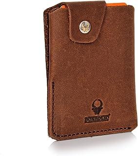 Donbolso Slim Wallet mit Münzfach Bern Herren Kreditkartenetui Geldbörse Leder Mini Geldbeutel Klein Portemonnaie Damen Kartenetui Braun