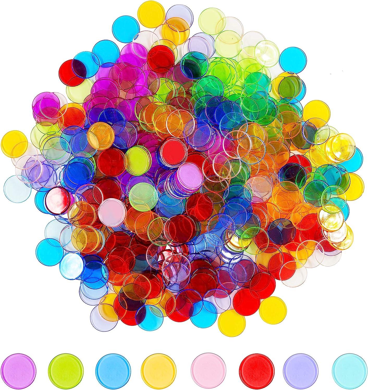 Regular dealer Hebayy Excellence 500 Transparent 8 Color Plastic Bingo Chip Clear Counting