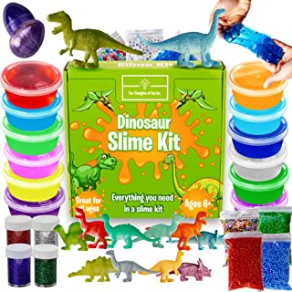 Dinosaur Slime Kit for Boys - Stretchiest Slime Kit, Easy-to-Clean Fun Slime for Kids, 12 Colors & Dinosaur Toys - Everything in ONE for Ultimate, Premade, DIY, Foamy, Stretchy Slime 38pc