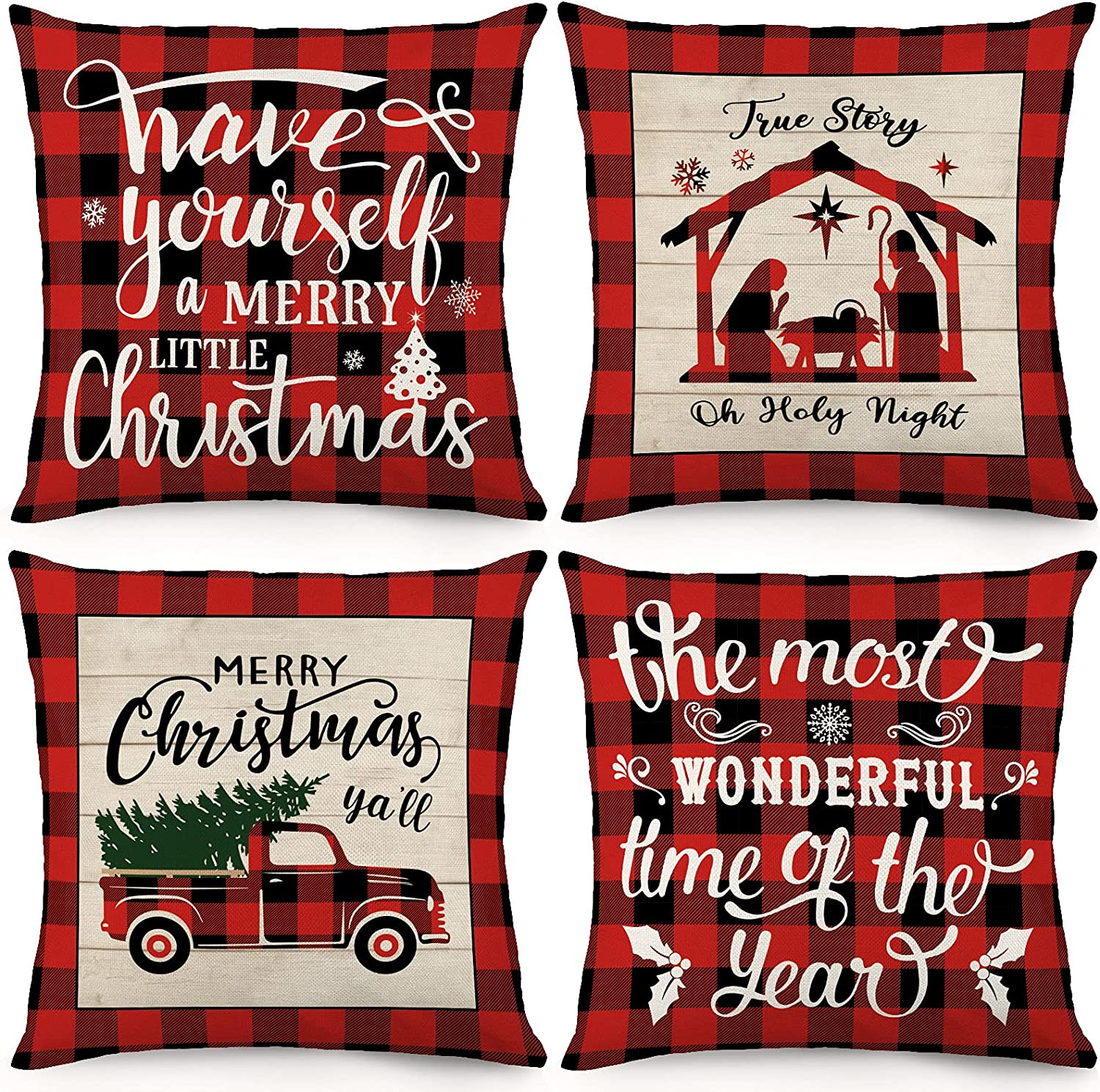 Holicolor Christmas Pillow Covers 18x18 Inch Set of 4 Christmas Decorations Farmhouse Buffalo Check Plaid Holiday Linen Cushion Case for Home Decor