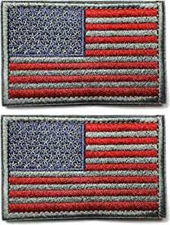 Ogrmar Tactica American Flag Embroidered Patch USA United States of America Military Uniform Emblem Pack of 2 (Grey and red)