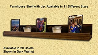 Farmhouse Rustic Wooden Picture Ledge Shelf – Reclaimed Styled Wood – Available in 20 Colors & 11 Sizes – Shown in: Dark Walnut - Decorative Wall Shelf with Lip – Wall Storage – Floating Shelf