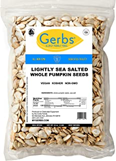GERBS Lightly Sea Salted Whole Pumpkin Seeds, 32 ounce Bag, Roasted, Top 14 Food Allergy Free, Non GMO, Vegan, Keto, Paleo Friendly