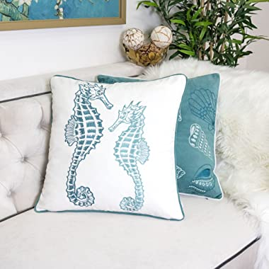 Homey COZY 71155-Seahorse Accent Pillow, 1 Count (Pack of 1), Teal