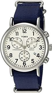 Unisex TWC063800 Weekender Chrono Cream/Blue Double-Layered Nylon Slip-Thru Strap Watch