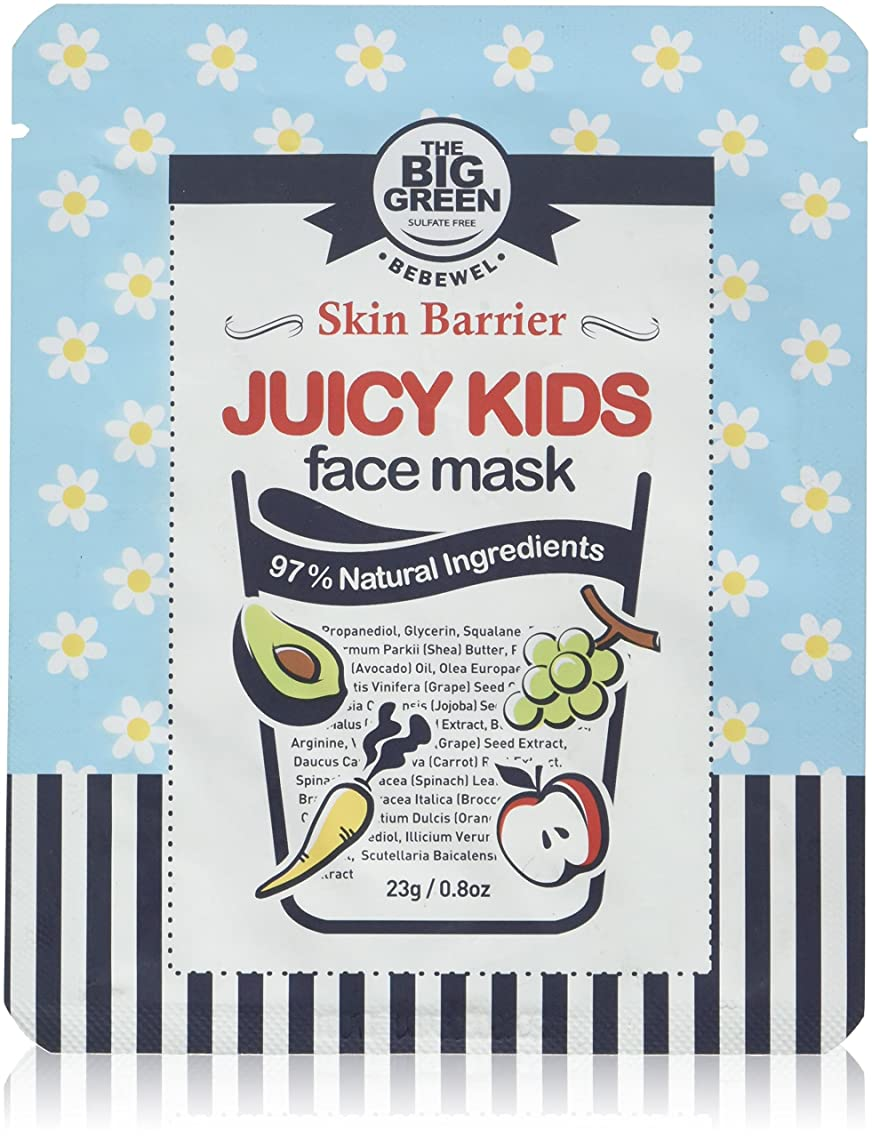 Big Green Natural Juicy Kids Face Mask - 5 Sheets, EWG VERIFIED, Soothing,Healing-Moisturizing,Calming,Ecocert Certified Squalane,Vitamins & Mineral