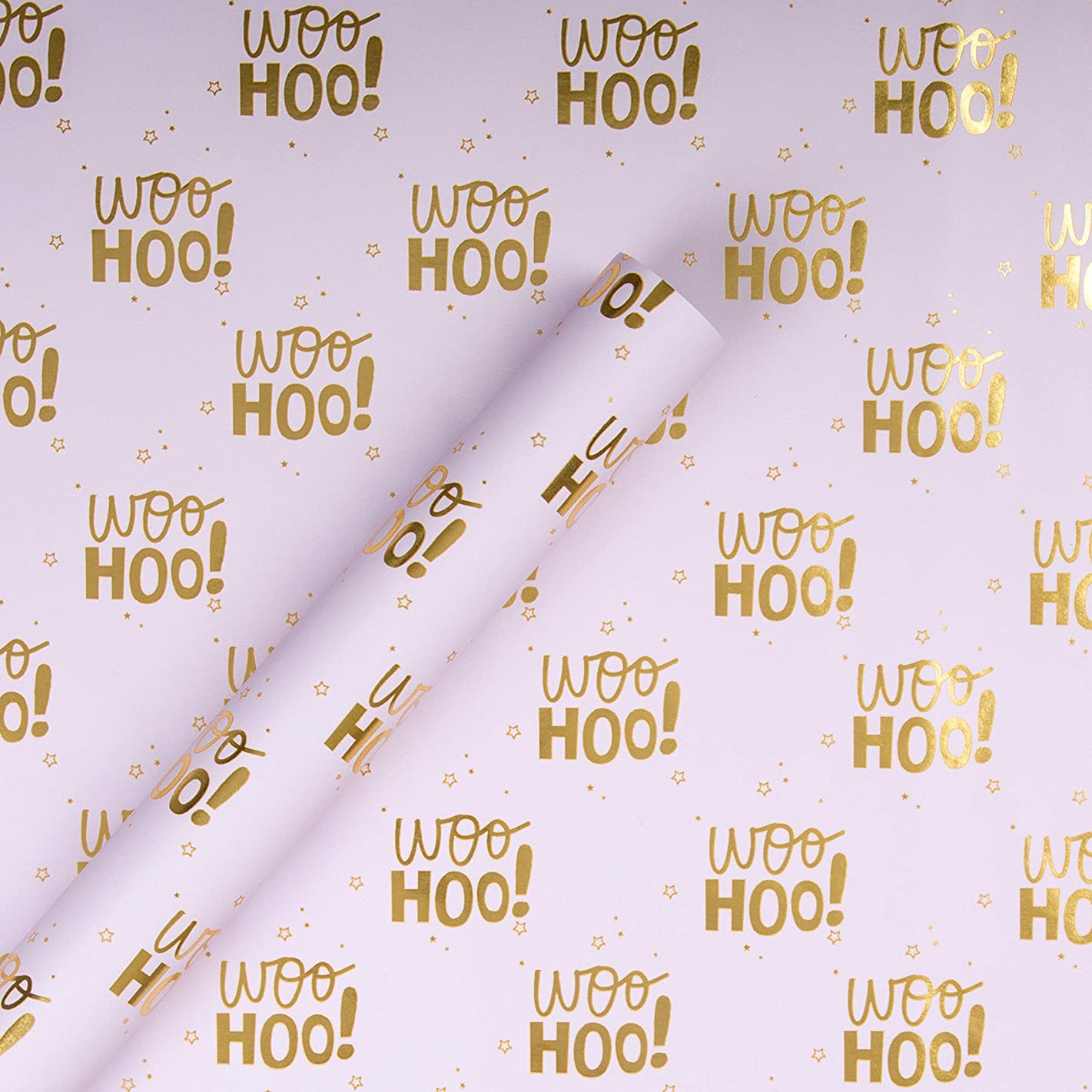 Multi-Occasion Reversible Wrapping Paper from Hallmark 'Woo Hoo' - 2m Roll (Birthday, Wedding, Engagement)