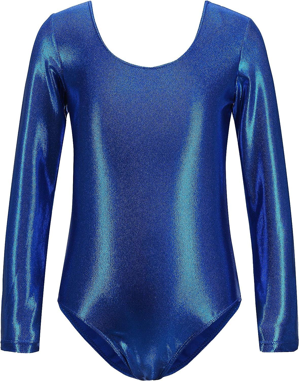 Gymnastics Leotards for Girls Dance Ballet Leotards Kids Long Sleeve Sparkly Shiny Metallic Practice Outfits