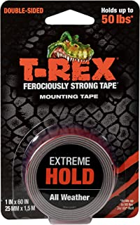 T-Rex Extreme Hold Double Sided Mounting Tape Black, Holds up to 50lbs, 25mm x 1.5m