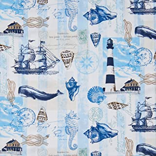 Timeless Treasures Nautical Mile Nautical Postcard Neutral Fabric Fabric by the Yard