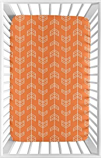 Sweet Jojo Designs Orange and White Baby Boy or Girl Unisex Fitted Mini Portable Crib Sheet for Arrow Collection - for Mini Crib or Pack and Play ONLY