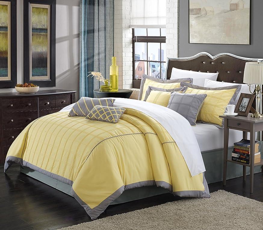 徴収悪性腫瘍スローPerfect HomeコテージイエローKing 12-piece Bed in aバッグ布団セットwith 4ピースシートセット