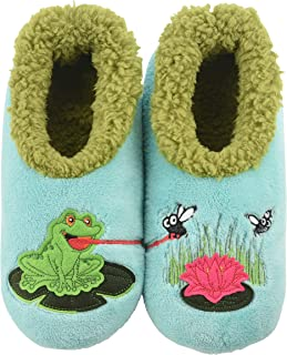 Girls Plush Green Frog Slippers Slide on Scuffs