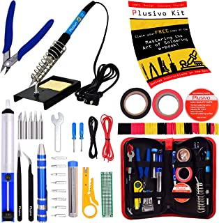 Soldering Iron Kit - Soldering Iron 60 W Adjustable Temperature, Diagonal Wire Cutter, Stand, Soldering Iron Tip Set, Desoldering Pump, Tweezers, Rosin, Bonus Heatshrinks - [110 V, US Plug]