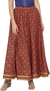 Globus Printed Zari Border Long Rust Skirt