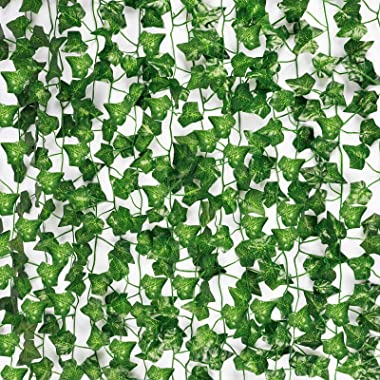 COCOBOO 21pcs 147ft Fake Vines Ivy for Home Decor Kitchen Wall Bedroom Garden Wedding Party Greenery Garland Silk Fake Plants