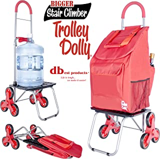 dbest products Stair Climber Bigger Trolley Dolly Shopping Cart, Red Shopping Grocery Foldable Cart Condo Apartment